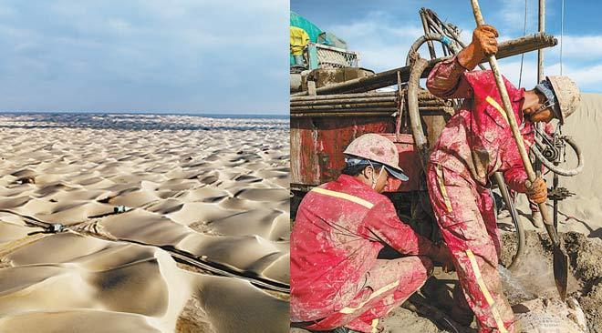 勘探人员在新疆塔克拉玛干沙漠扩大富集油气区