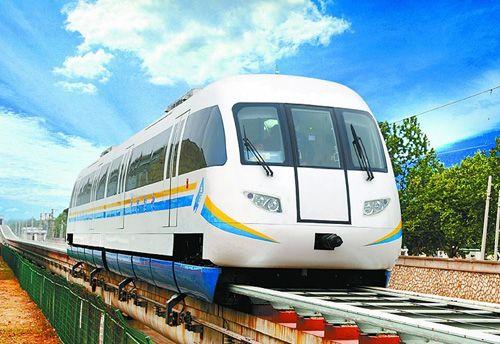 组图:国产磁悬浮列车在河北试车